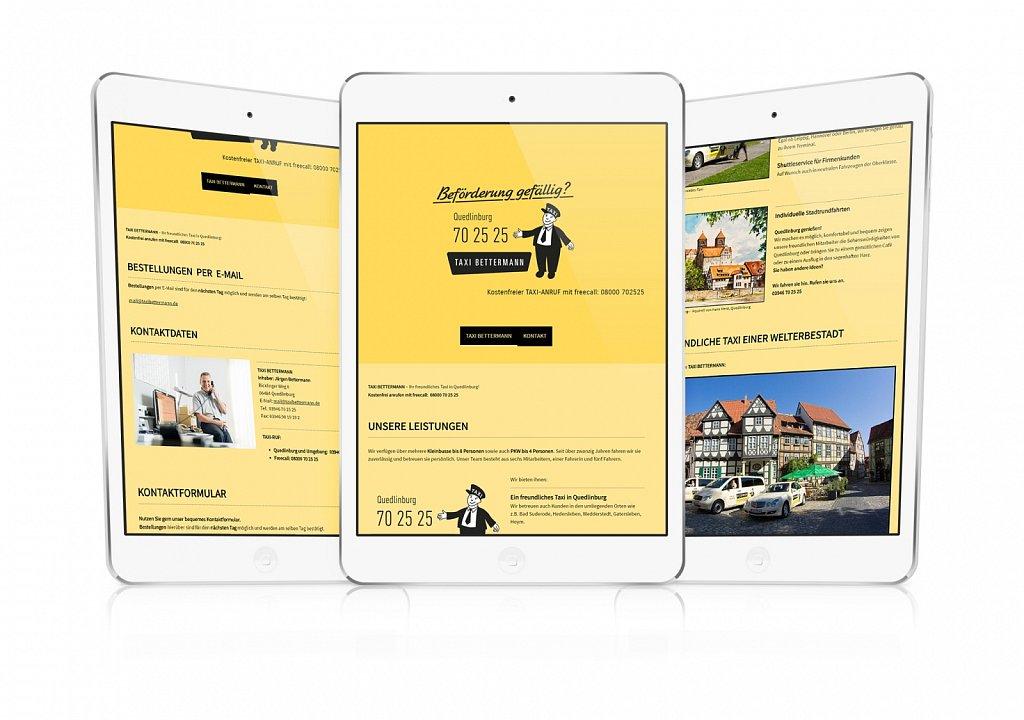 Ein freundlicher Auftritt im Internet für ein freundliches Taxiunternehmen in Quedlinburg – in Taxi-Gelb!